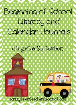September Literacy and Calendar Journals