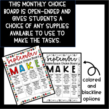 September Makerspace STEM Choice Board