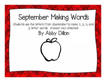 September Making Words