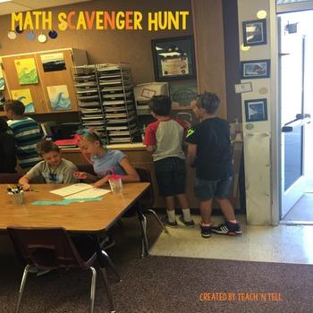 September Addition, Subtraction, and Multiplication Scavenger Hunt Bundle