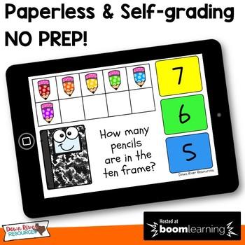 September Math Boom Cards   Ten Frames Kindergarten TEKS