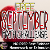 September Math Brainteaser-FREE Fast Finisher, Homework, or Extension