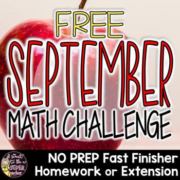 September Math Brainteaser-FREE Fast Finisher, Homework, or Extension