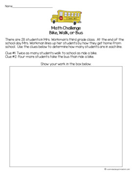 Back to School Math Worksheet FREE