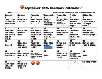 September Math Calendar 2013