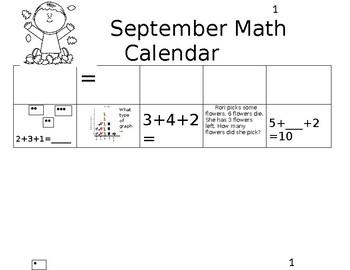 September Math Calendar