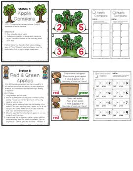 Kindergarten Math Centers September