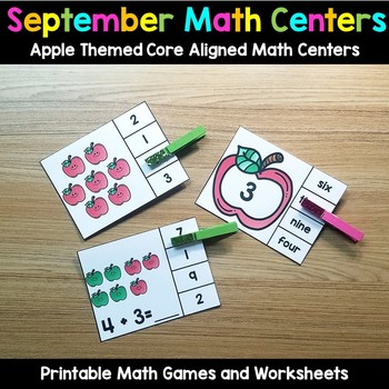 September Math Centers Apple Themed Games and Worksheets