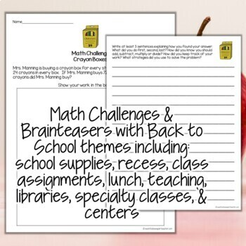 September Math Challenges & Brainteasers-Back to School FF, HW, Extensions