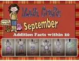 September Math Crafts Addition Facts within 20