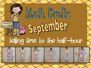September Math Crafts Telling Time to the Half -Hour