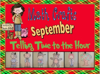 September Math Crafts Telling Time to the Hour