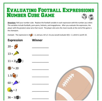 September Math - Football Number Cube Game - Evaluating Expressions