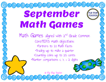 September Math Games - partners to 10, money, number comparision
