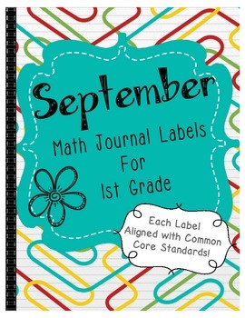 September Math Journal Labels ~ CCSS Aligned