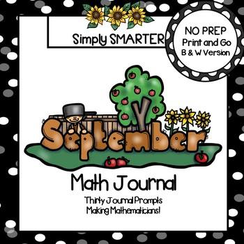 September Math Journal:  NO PREP Journal Prompts