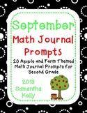 September Math Journal Prompts for 2nd Grade