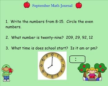 September Math Journal for SMART board