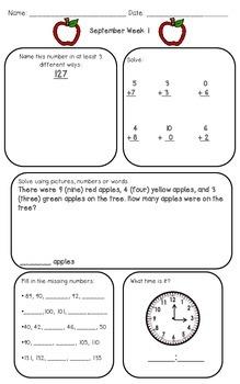 September Math Morning Work...Second Grade Style!