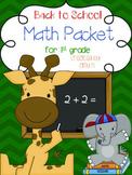 September Math Packet for First Grade