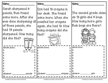 September Math Problem Solving Tasks (Addition/Subtraction)