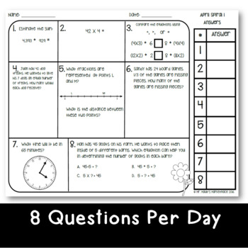 September Math Spiral Review 5-Day SAMPLE: Daily Math for 3rd Grade
