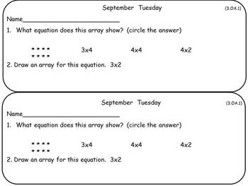 September Math Warm-Ups- Third Grade Common Core Aligned