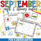 September Math and Literacy Centers for Kindergarten