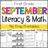 September Math and Literacy Packet - 1st Grade (No Prep Pr