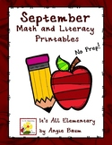 September Math and Literacy Printables - Upper Elementary