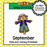 September Math and Literacy Printables and Activities For First Grade