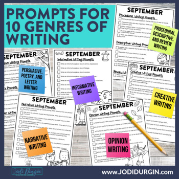 September Mega-Writing Packet {Task Card Prompts, Posters, & Writing Process}