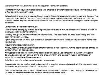 September Mon-Thur. Editable Common Core Kindergarten 4 Week Homework Calendar