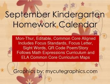 September Mon-Thur. Editable Common Core Kindergarten 4 We