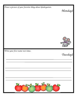 September Monthly Homework for Kindergarten- Editable Version