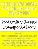 September Monthly Vocabulary Words for Life Skills Classroom