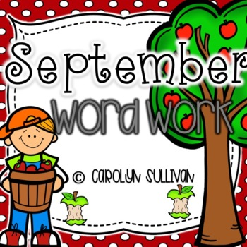 September Monthly Word Work Pack