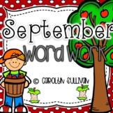 September Monthly Word Work Pack