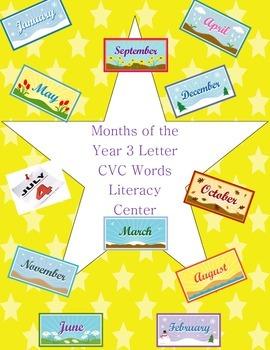 Months of the Year CVC Words Kindergarten Literacy Center Week 1 & 2