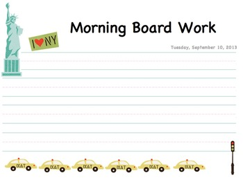 September Morning Board Work Journal for Special Students