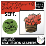 Editable September Morning Meeting Question Cards