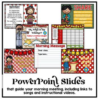 September Morning Meeting and Calendar First Grade