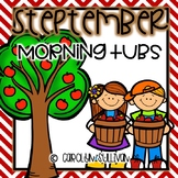 September Morning Tub Activities for Kindergarten