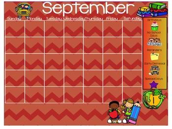 September Morning Work Calendar