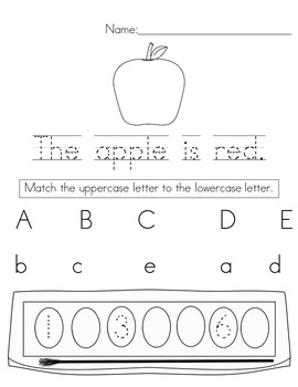 September Morning Work (Kindergarten)