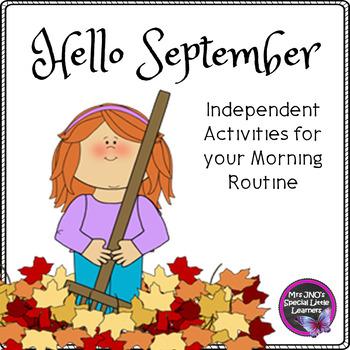Hello September Morning Work - Kindergarten