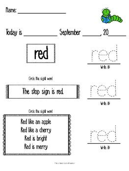 September Morning Work- Pre-primer for Special Education