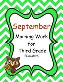 September Morning Work for Third Grade