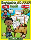 September NO PREP Back To School - Math & Literacy (Fourth)