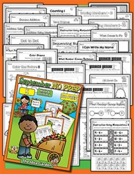 September NO PREP Back To School - Math & Literacy (Kindergarten)